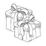 Christmas gift sketch Royalty Free Stock Photos