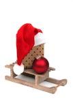 Christmas gift on sledge Stock Image