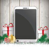 Christmas Gift Smartphone Twigs Baubles Royalty Free Stock Photos