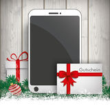 Christmas Gift Smartphone Twigs Baubles Gutschein Royalty Free Stock Photography
