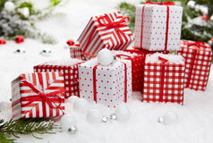 Christmas gift on snow Royalty Free Stock Photo