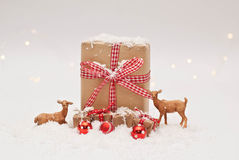 Christmas. Gift, snow and reindeers Royalty Free Stock Photography