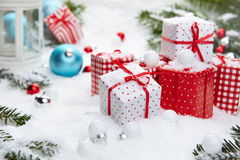 Christmas gift on snow Royalty Free Stock Image