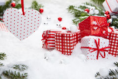 Christmas gift on snow Stock Photo
