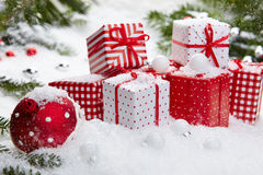 Christmas gift on snow Stock Photography