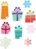 Christmas gift and snowflake stickers Royalty Free Stock Photography