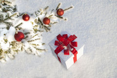 Christmas gift in a snowy forest near the pine Stock Images