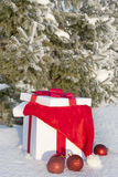 Christmas gift in a snowy forest near the pine Royalty Free Stock Photo