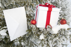 Christmas gift in a snowy forest near the pine Stock Photo