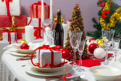 Christmas gift on the table Royalty Free Stock Photos