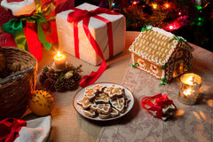 Christmas gift table set with gingerbread Stock Images