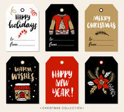 Christmas gift tag with calligraphy. Hand drawn design elements. Royalty Free Stock Image