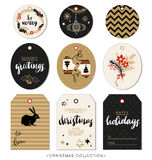 Christmas gift tag. Hand drawn design elements and calligraphy. Royalty Free Stock Photography
