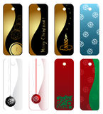 Christmas gift tag set. 8 Christmas gift tags with original designs Stock Photos