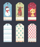 Christmas gift tag set. Cute set of Christmas tags with animal characters and patterns Stock Photography
