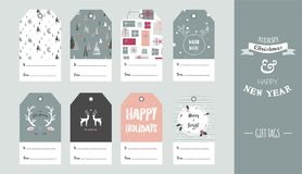 Christmas gift tag set in retro style . vector illustration. Design stock illustration