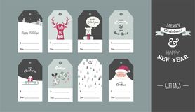 Christmas gift tag set in retro style . vector illustration. Design royalty free illustration