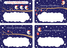 Christmas Gift Tags. Four illustrated gift tags with birds and presents royalty free illustration