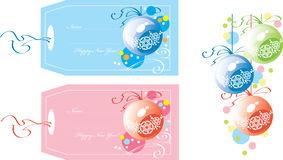 Christmas gift tags. Two Christmas & New Years gift tags vector illustration