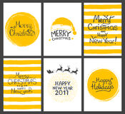 Christmas gift tags and cards with calligraphy. Hand drawn design elements. Handwritten modern lettering.  Stock Images