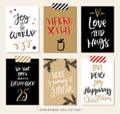 Christmas gift tags and cards with calligraphy. Royalty Free Stock Photography