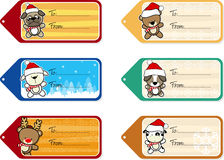Christmas gift tags with cute baby animals Stock Photography