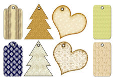 Christmas gift tags of different forms. Royalty Free Stock Photos
