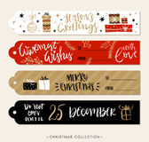 Christmas gift tags and labels with calligraphy. Handwritten modern brush lettering. Hand drawn design elements Royalty Free Stock Image
