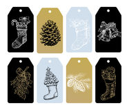 Christmas  gift tags, ornaments, bells, stocking. Merry Christmas gift tags labels of Christmas tree gilding ornaments, fir, pine cone, balls, jingle bells Royalty Free Stock Photos