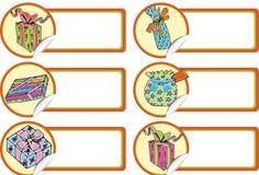 Christmas Gift Tags - Presents. Set of 6 Christmas gift tags Royalty Free Stock Photos