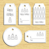 Christmas gift tags. Ready to use. Christmas greeting. Wooden background. Vector Royalty Free Stock Photos