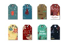 Christmas gift tags set. Christmas gift tag set in doodle style isolated handwritten Royalty Free Stock Photos