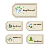 Christmas gift tags set. Cute Christmas or New Year labels. Vector illustration Royalty Free Stock Images
