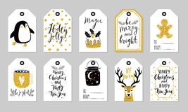 Christmas gift tags set, hand drawn style. Royalty Free Stock Photos