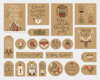 Christmas gift tags set, hand drawn style. Royalty Free Stock Image