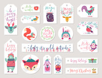 Christmas gift tags set, hand drawn style. Stock Photos
