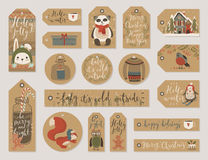 Christmas gift tags set, hand drawn style. Royalty Free Stock Photo