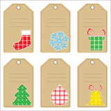 Christmas gift tags. Set of Christmas gift tags with stitched decorations Royalty Free Stock Image