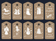 Christmas gift tags, stikers and labels. Vector Stock Image