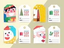 Christmas gift tags template set. Vector printable xmas box or l. Etter labels design. Santa, reindeer, snowman and elf characters badges or cards royalty free illustration