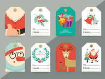 Christmas gift tags template set. Vector printable xmas box or l. Etter tag labels design. Santa, reindeer, snowman and cookie characters badges or cards vector illustration