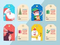 Free Christmas Gift Tags Template Set. Vector Printable Xmas Box Or L Stock Photo - 103129440