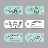 Christmas Gift Tags With Typography. New Year Labels. Royalty Free Stock Photos