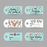Christmas Gift Tags With Typography. New Year Labels. Stock Image