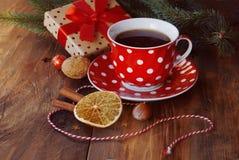 Christmas gift and tea Royalty Free Stock Image