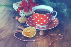 Christmas gift and tea Royalty Free Stock Images