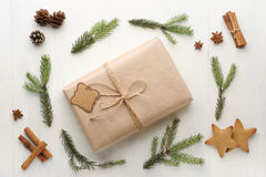 Christmas gift, thread, pine cone, pine needles and Ginger Cooki Stock Photography