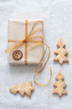 Christmas gift tied with ribbon Stock Photography