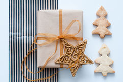Christmas gift tied with ribbon Royalty Free Stock Photo