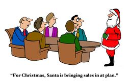 Christmas Gift to Sales. Christmas and business cartoon of a meeting with Santa Claus at the head of the table, 'For Christmas, Santa is bringing sales in at royalty free illustration
